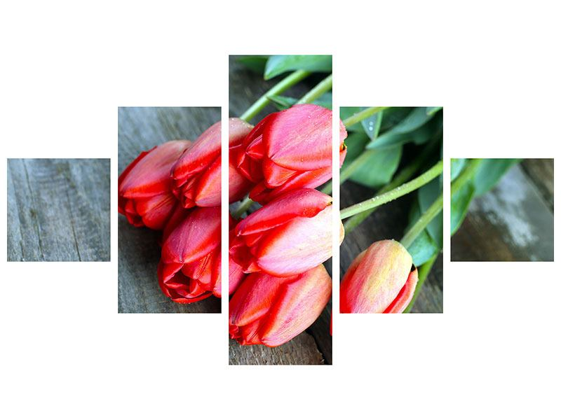 Leinwandbild 5-teilig Der rote Tulpenstrauss