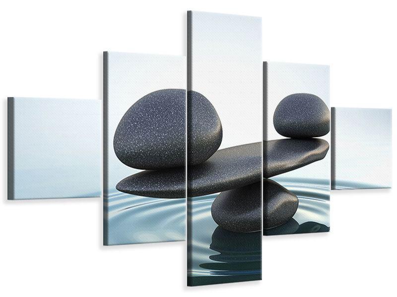 Leinwandbild 5-teilig Steinbalance