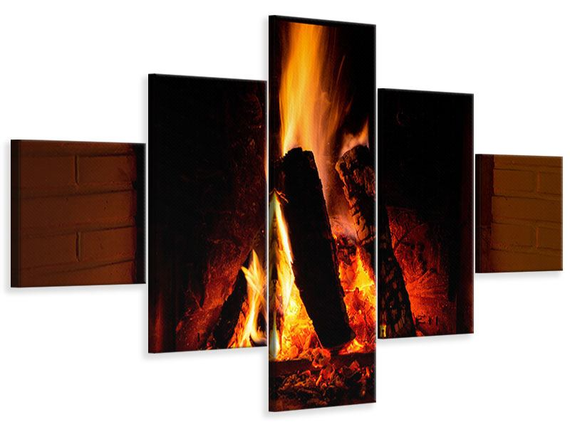 Leinwandbild 5-teilig Feuer im Kamin