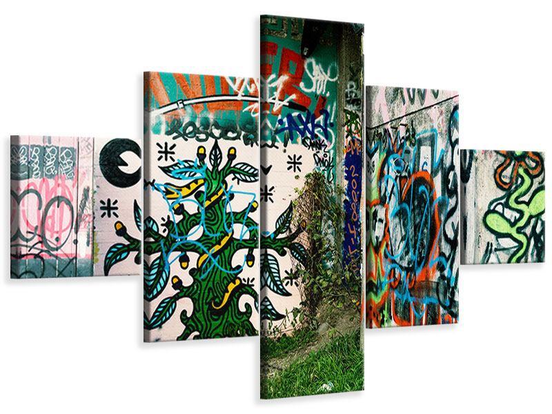Leinwandbild 5-teilig Graffiti im Hinterhof