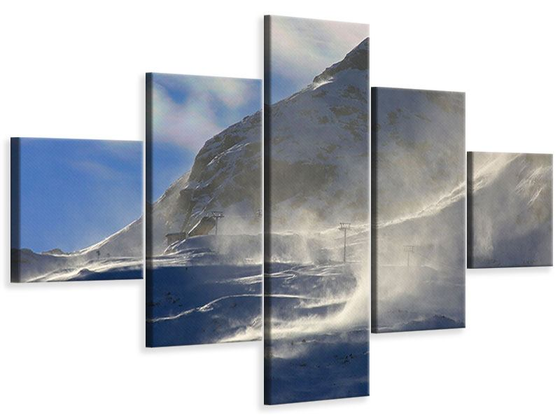 Leinwandbild 5-teilig Mit Schneeverwehungen den Berg in Szene gesetzt