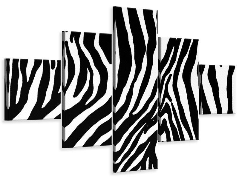 Leinwandbild 5-teilig Zebramuster