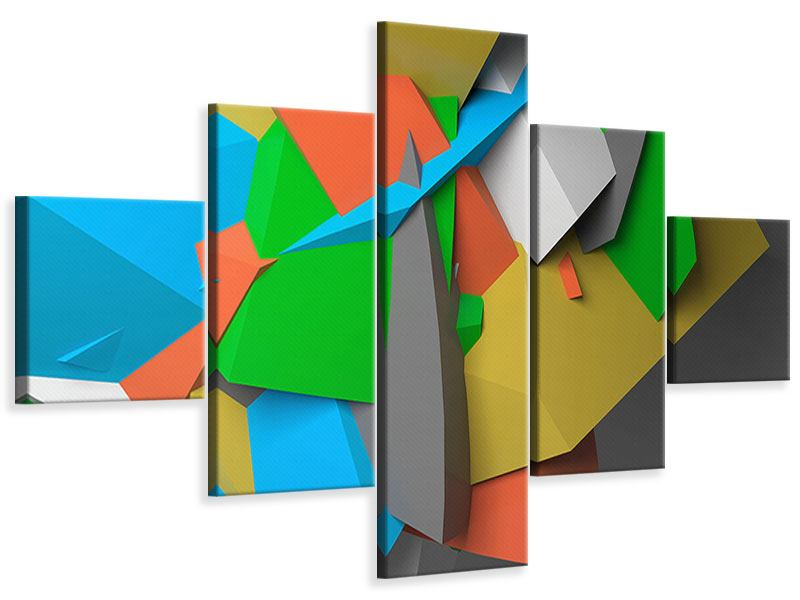 Leinwandbild 5-teilig 3D-Geometrische Figuren