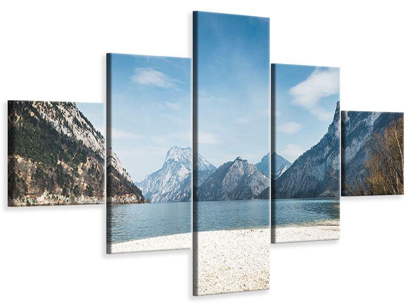 Leinwandbild 5-teilig Der idyllische Bergsee