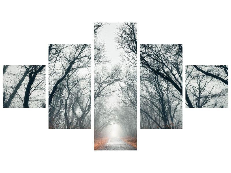 Leinwandbild 5-teilig Mysteriöse Stimmung im Wald