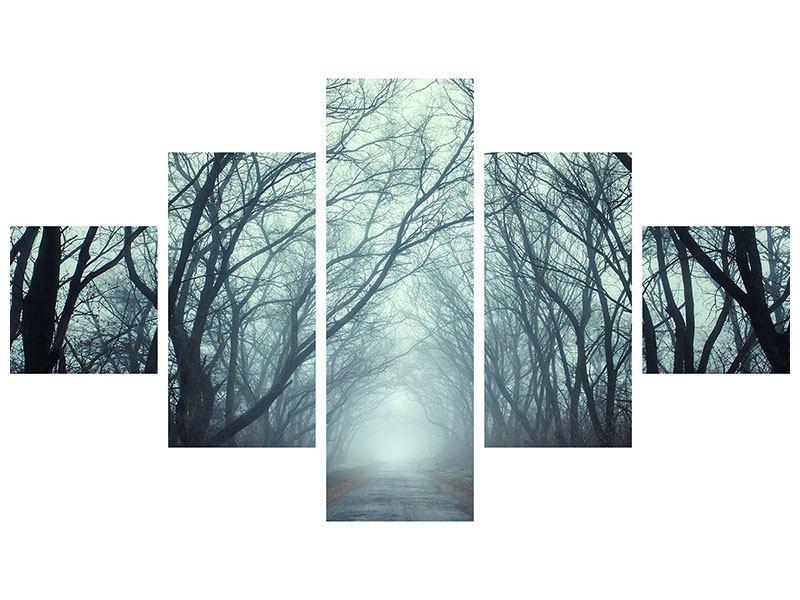 Leinwandbild 5-teilig Nebelwald