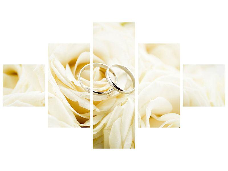 Leinwandbild 5-teilig Trauringe auf Rosen gebettet