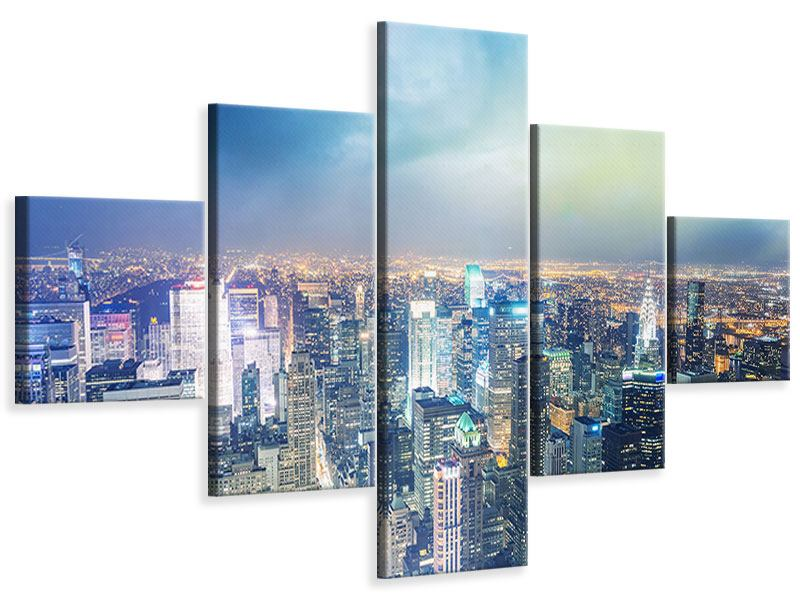 Leinwandbild 5-teilig Skyline NY bei Sonnenuntergang