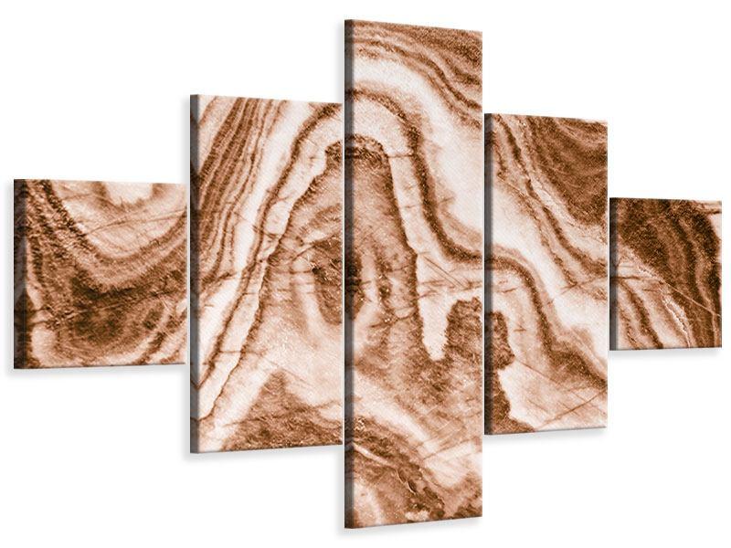Leinwandbild 5-teilig Marmor in Sepia