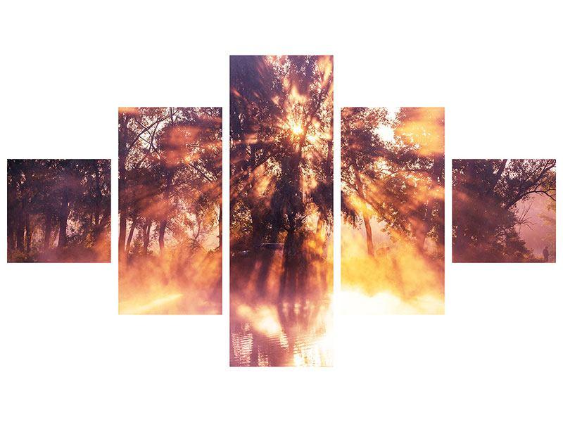 Leinwandbild 5-teilig Die Waldspiegelung
