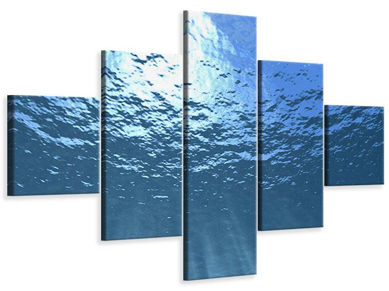 Leinwandbild 5-teilig Sonnenstrahlen unter Wasser