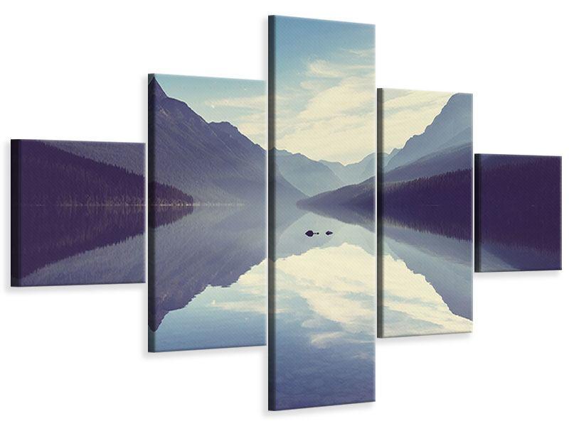 Leinwandbild 5-teilig Bergspiegelung