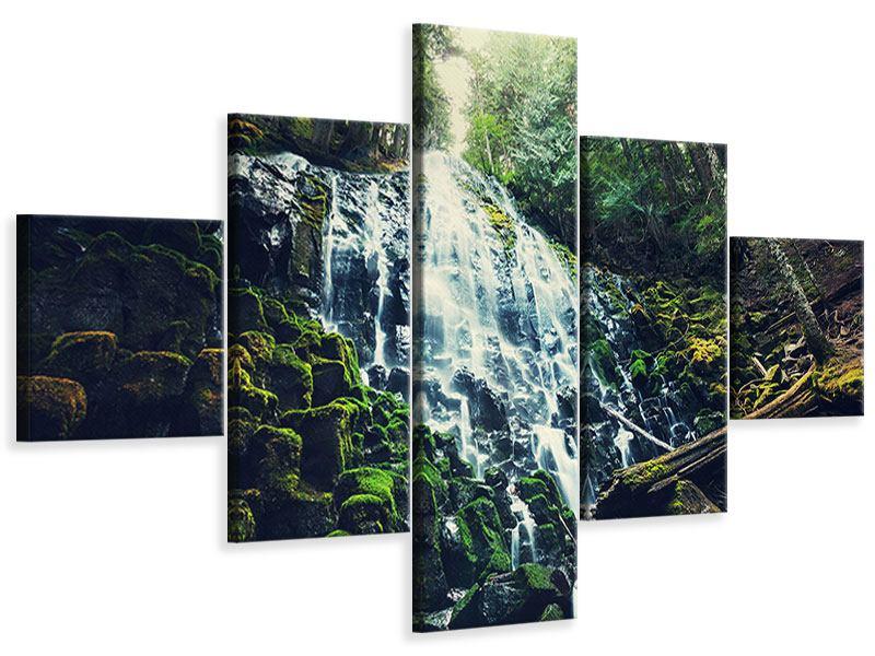 Leinwandbild 5-teilig Feng Shui & Wasserfall