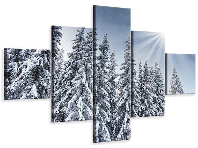 Leinwandbild 5-teilig Wintertannen