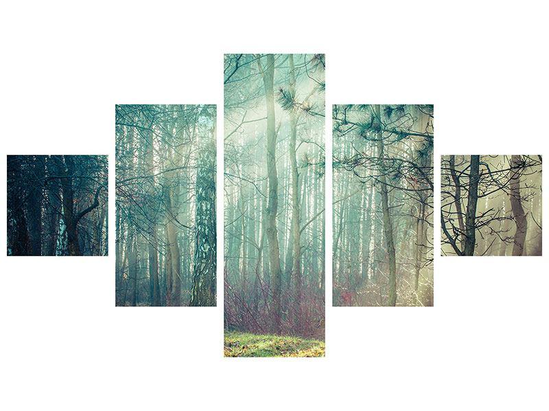 Leinwandbild 5-teilig Pinienwald