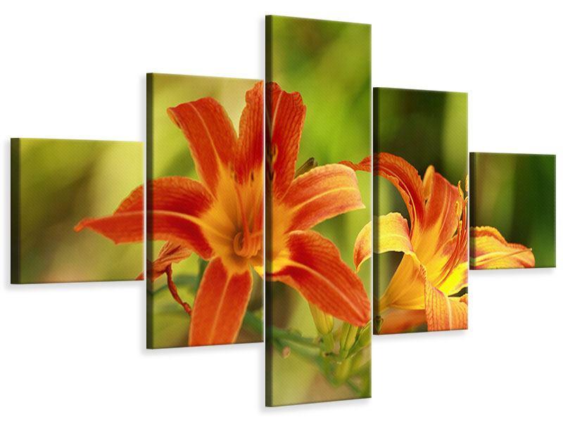Leinwandbild 5-teilig Natural Lilien