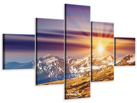 Leinwandbild 5-teilig Majestätischer Sonnuntergang am Berggipfel