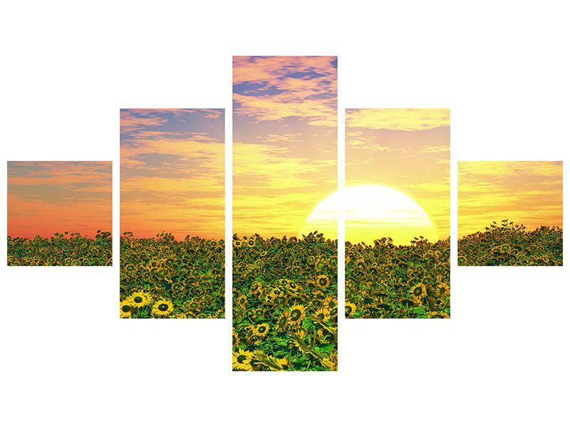 Leinwandbild 5-teilig Blumenpanorama bei Sonnenuntergang