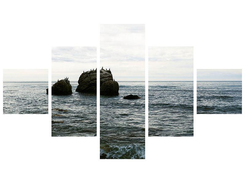 Leinwandbild 5-teilig Leise Wellen