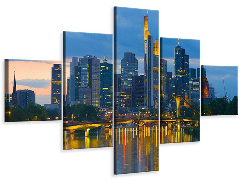 Leinwandbild 5-teilig Skyline Frankfurt am Main
