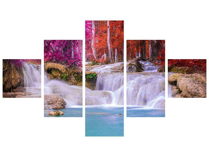 Leinwandbild 5-teilig Paradiesischer Wasserfall