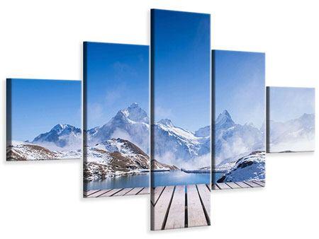 Leinwandbild 5-teilig Sonnenterrasse am Schweizer Bergsee