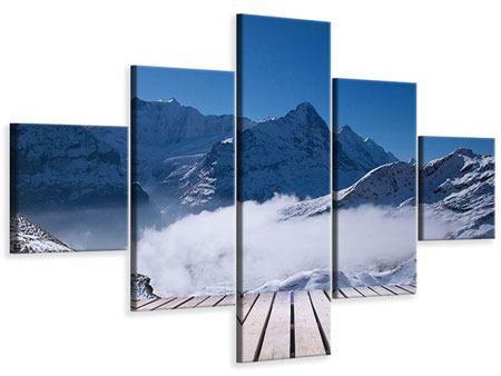Leinwandbild 5-teilig Sonnenterrasse in den Schweizer Alpen