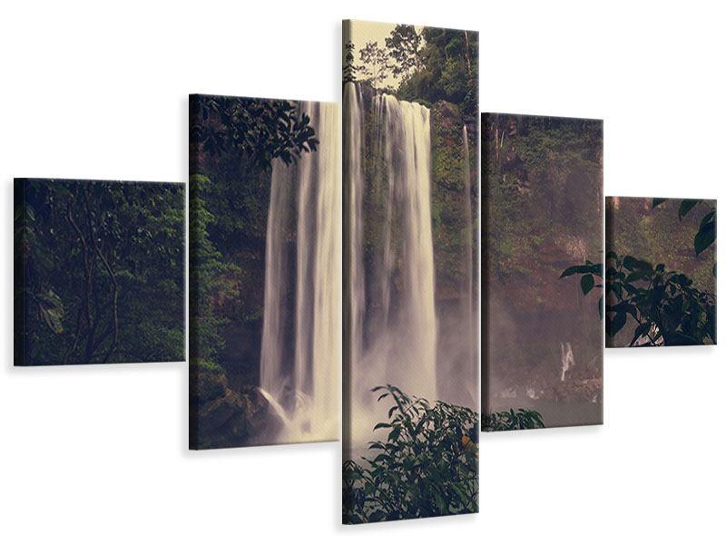 Leinwandbild 5-teilig Wasserfall in Mexiko