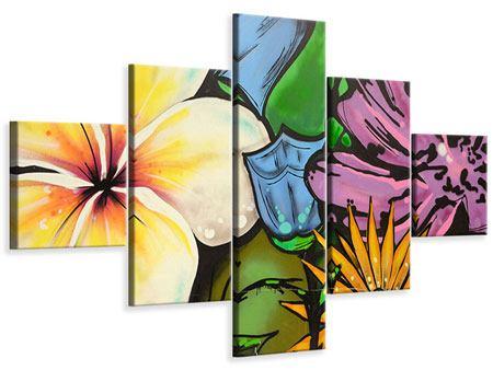 Leinwandbild 5-teilig Graffiti Flowers