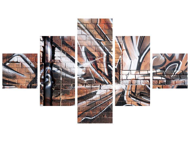 Leinwandbild 5-teilig Graffiti Mauer