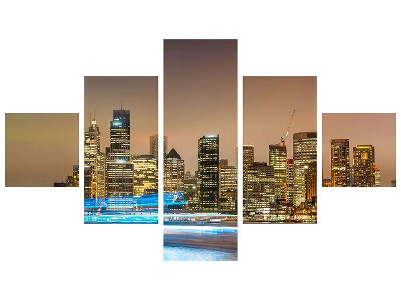 Leinwandbild 5-teilig Skyline Sydney im Lichtermeer