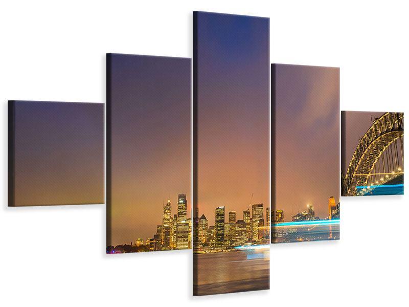 Leinwandbild 5-teilig Skyline Opera House in Sydney im Abendlicht