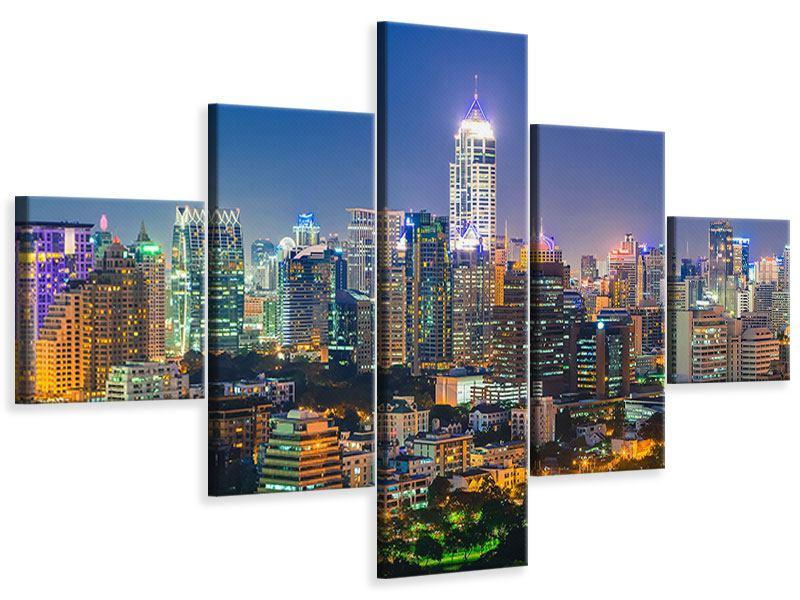 Leinwandbild 5-teilig Skyline One Night in Bangkok