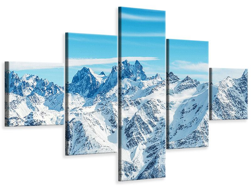 Leinwandbild 5-teilig Alpenpanorama