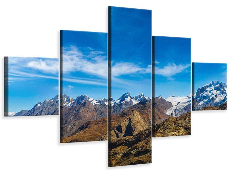 Leinwandbild 5-teilig Schweizer Alpen im Frühling