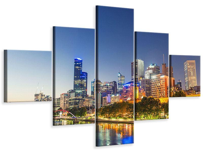 Leinwandbild 5-teilig Skyline Sydney in der Abenddämmerung