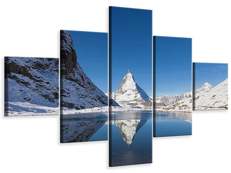 Leinwandbild 5-teilig Der Riffelsee am Matterhorn