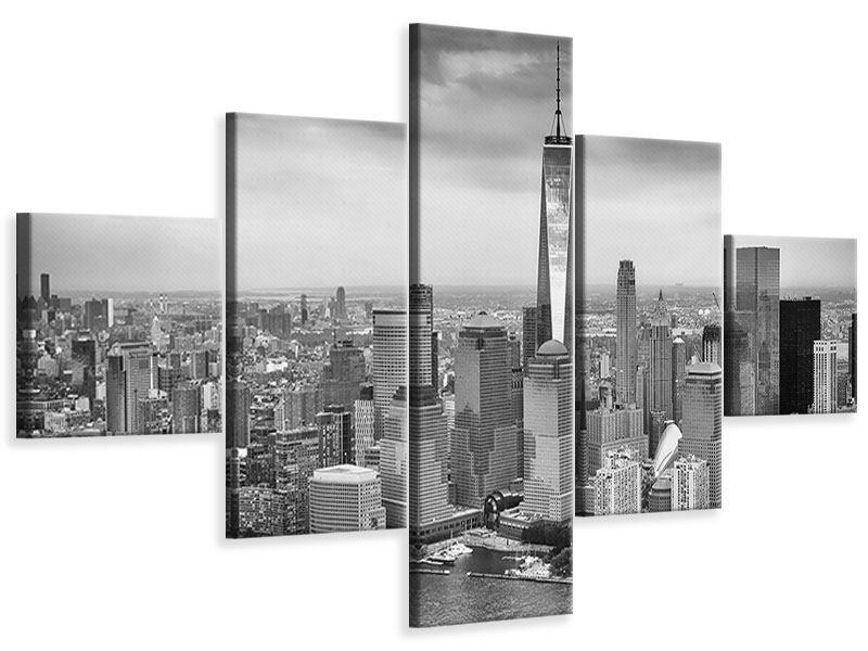 Leinwandbild 5-teilig Skyline Schwarzweissfotografie New York