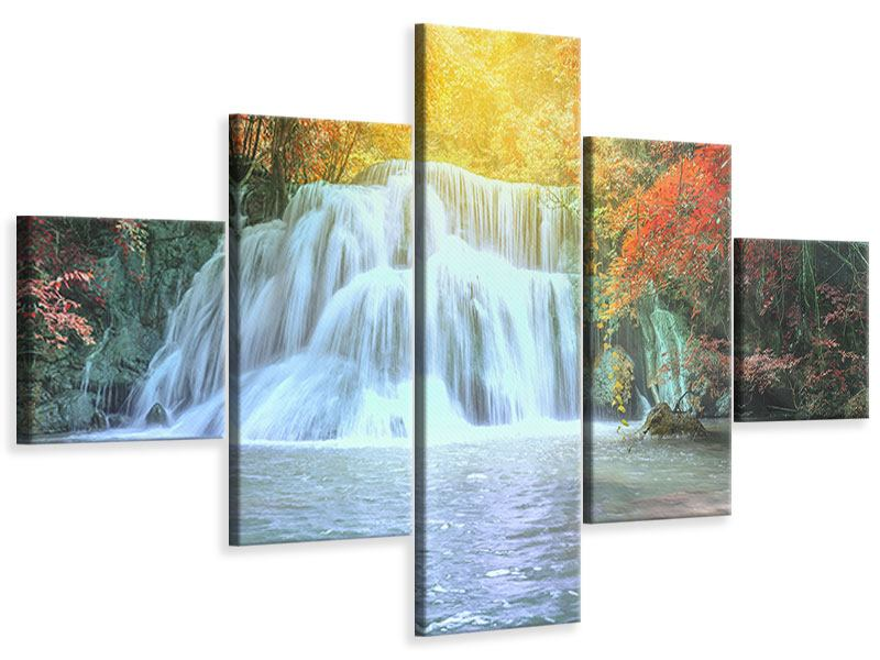 5 Piece Canvas Print Waterfall In Light