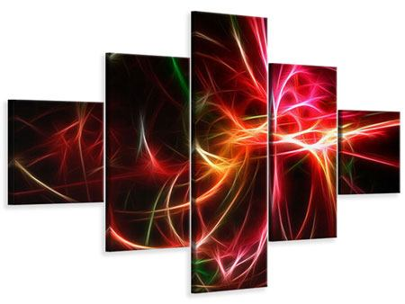 Leinwandbild 5-teilig Fraktales Lichtspektakel