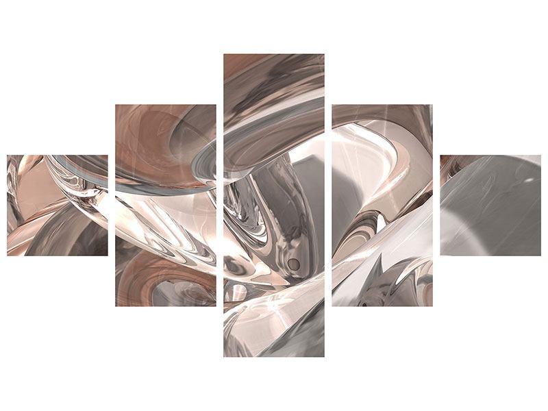 Leinwandbild 5-teilig Abstraktes Glasfliessen