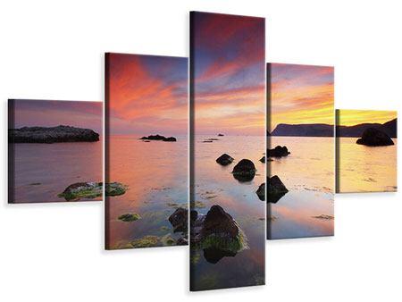 Leinwandbild 5-teilig Ein Sonnenuntergang am Meer
