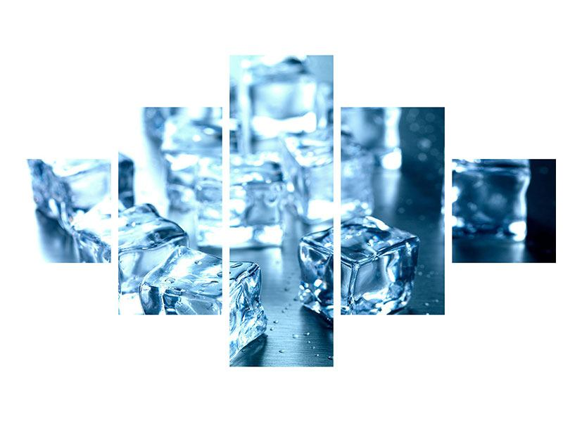 Leinwandbild 5-teilig Viele Eiswürfel