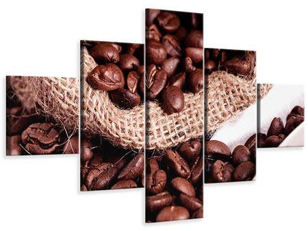 Leinwandbild 5-teilig XXL Kaffeebohnen
