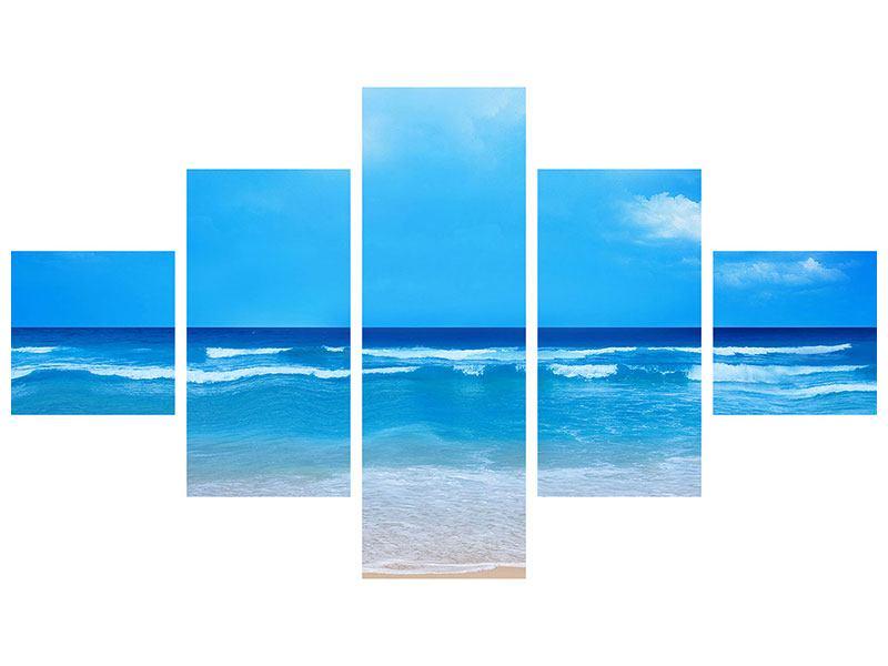 Leinwandbild 5-teilig Sanfte Strandwellen