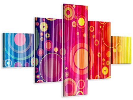 Leinwandbild 5-teilig Grunge-Retrokreise