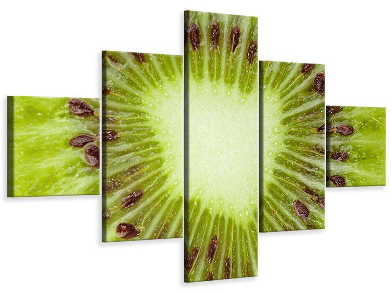 Leinwandbild 5-teilig Close Up Kiwi