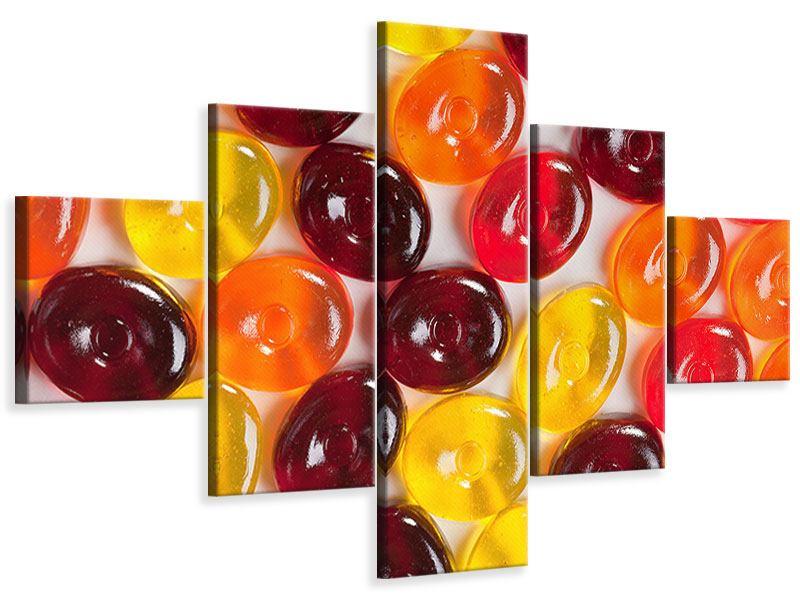 Leinwandbild 5-teilig Bonbons