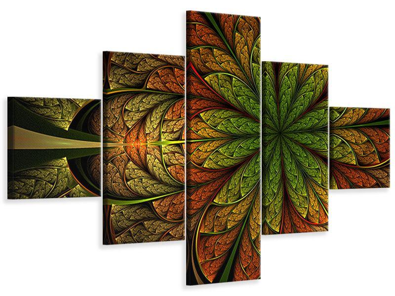 Leinwandbild 5-teilig Abstraktes Blumenmuster