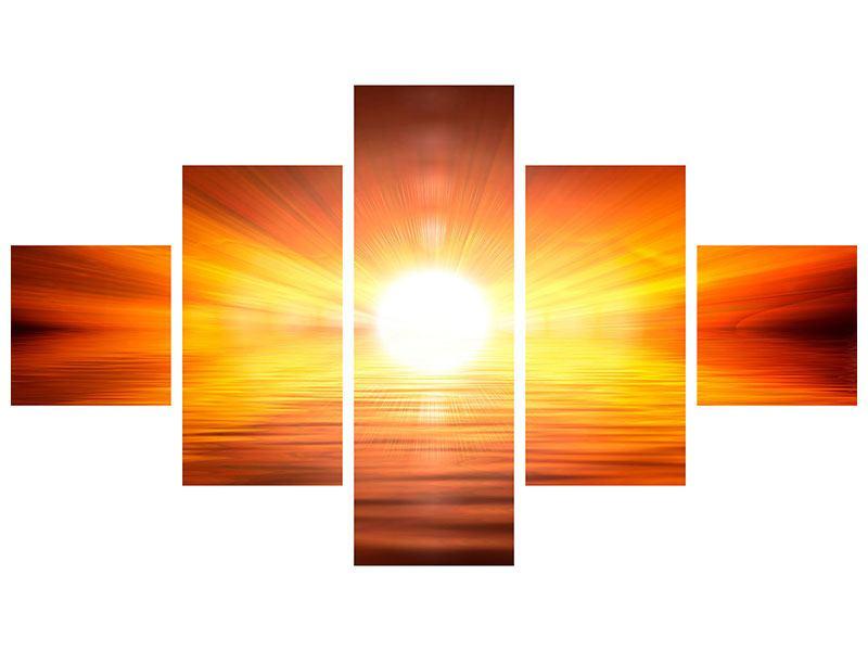 Leinwandbild 5-teilig Glühender Sonnenuntergang